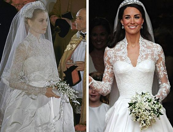 Grace Kelly, Left, and Kate Middleton, now the Duchess of Cambridge, both carried bridal bouquets featuring lily of the valley flowers.