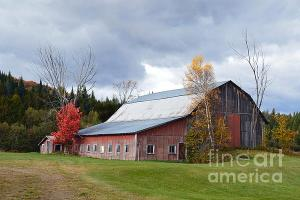 Storm Clouds Over Vermont Red Barn.
